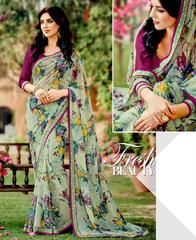 Pastel Green Color Georgette Kitty Party Sarees : Leena Collection  YF-42451
