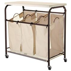 7. Ollieroo Classic Rolling Laundry Sorter Cart