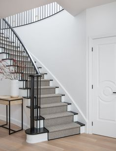 Love the railing and door detailing. Photo by Lauren Miller. Design by Meg Cassidy Staircase Interior Design, Traditional Staircase, Traditional Interior, Iron Staircase, Beautiful Stairs, Wooden Staircases, Bedroom Layouts, Carpet Stairs, Interior Design Inspiration