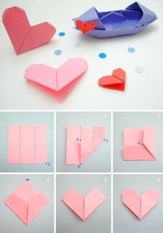heart: I love origami. What a cute way to tie together a gift. :)origami heart: I love origami. What a cute way to tie together a gift. Easy Origami Heart, Origami Simple, Origami Butterfly, Useful Origami, Origami Stars, Origami Letter, Origami Bookmark, Paper Crafts Origami, Origami Tutorial