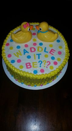 Rubber Duck Gender Reveal Cake - Waddle It Be