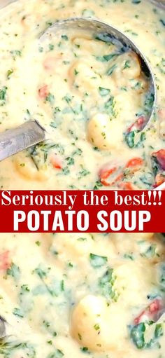 The Best Potato Soup…a thick , creamy, hearty soup that's absolutely delicious! The Best Potato Soup…a thick , creamy, hearty soup that's absolutely delicious! Easy Soup Recipes, Chili Recipes, Crockpot Recipes, Great Recipes, Cooking Recipes, Dinner Recipes, Potato Soup Recipes, Dinner Ideas, Seafood Soup Recipes