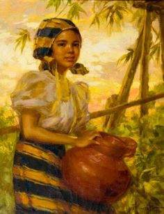 Young girl with jar - Fernando Amorsolo – Filipino) Filipino Art, Filipino Culture, Filipino Food, Philippine Art, Philippine Fashion, Philippines Culture, Philippines Food, Munier, Beautiful Paintings