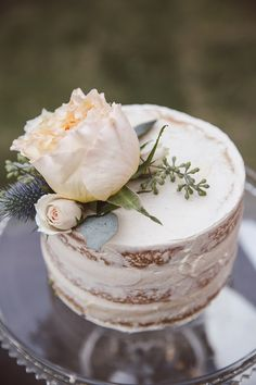 Little naked cake, natural, large white flower, rose // Amelia + Dan