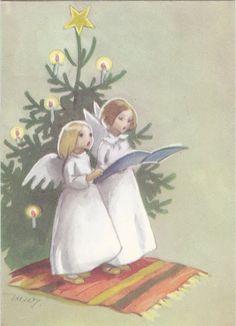 Vintage Angels Christmas Card by Martta Wendelin of Finland ~ Orange Rug Christmas Feeling, Vintage Christmas Cards, Retro Christmas, Scandinavian Christmas, Christmas Images, Christmas Greeting Cards, Christmas Angels, Christmas Greetings, Vintage Cards