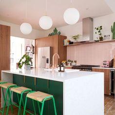 Ikea Kitchen Cabinets, Kitchen Tiles, Kitchen Dining, Kitchen Decor, Tropical Kitchen, Green Kitchen, Plywood Kitchen, Sweet Home, Small Kitchen Organization