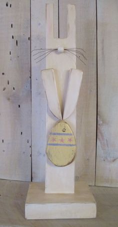 Primitive Wood Easter Bunny Standing by ModerationCorner on Etsy, $22.00