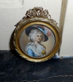 "MINIATURE dating 19th C ""Superb Portrait of a LADY with a blue dress in a a fram #Miniature"