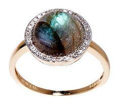 Round Labradorite and 1/10 ct tw Diamond Ring 14K Gold