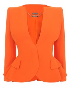 Orange Crepe Wing Peplum Jacket