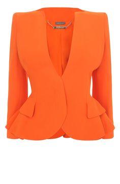 Orange Crepe Wing Peplum Jacket- Alexander McQueen