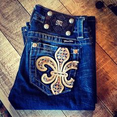Gold Stitches Miss Me Jeans
