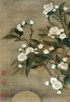 Yun Shouping, Pear Blossom and Moon  .  Very brief:Gleam of blossoms in the treetopsOn a moonlit night  Basho