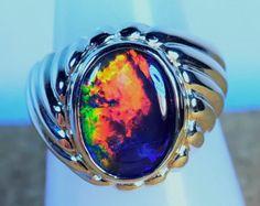 Mans/Ladies genuine Australian Opal solid 14k gold Ring (12940) justopal.com