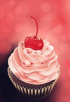 Cupcake/study painting by Yu-koi.deviantart.com on @DeviantArt