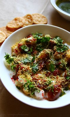 Papdi Chaat Recipe with step by step photos. Papdi Chaat is a popular north indian street food made with papdi, boiled chickpeas, potatoes, pakoris and curd. Veg Recipes, Indian Food Recipes, Vegetarian Recipes, Cooking Recipes, Recipies, Easy Cooking, Curry Recipes, Sweet Recipes, Cooking Tips