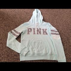 Htf Mint Blue Marbled Pink Hoodie Size S, wore once and washed like new condition no stains, no holes, smoke free home, pilling just starting lightly, My price is firm, NO LOWEST NO TRADES CHEAPER ON Ⓜ️ercari PINK Victoria's Secret Tops Sweatshirts & Hoodies