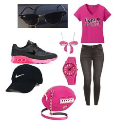"""""""Let's Sport Pink!"""" by quasia-taylor on Polyvore featuring Nike Golf, NIKE, Amanda Rose Collection, Swatch and Betsey Johnson"""