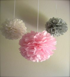 7 Pom Poms - Vintage Pink & Grey Tissue Paper Pom-Poms - More Colors Available. $25.50, via Etsy.