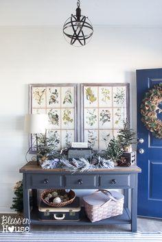 Woodland Christmas Home Tour 2015 Part 1 | blesserhouse.com | Natural modern farmhouse foyer
