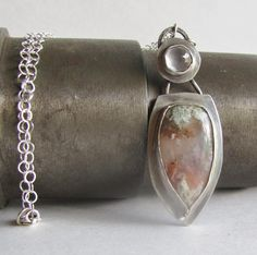 Nyssa plume agate and rose quartz necklace  Agate by heartsabustin