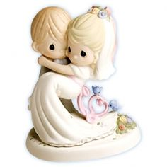 """Precious Moments ® Bluebirds of Happiness  """"To Have and To Hold!"""" Cake Topper Figurine"""