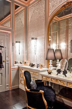 """Gorgeous closet & dressing room by Rikki Snyder"" Regal. Sweet Home, Interior Exterior, Interior Design, Stylish Interior, Gold Interior, Modern Interior, Dressing Room Closet, Dressing Rooms, Dressing Area"