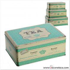 Conjunto de 3 latas de metal originales en color verde mint apilables. Cajas de metal Tea de cocina baratas.
