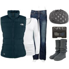 Winter - Puffy Vest (Northface is the best for the sporty look) but if you want to dress it up with another brand with a lil more fashion would look great too, cute slim jeans tucked into a great boot, styling hat, scarf of-course and you've got a sporty but warm look for fall or winter