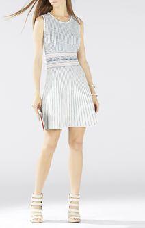 Sheina Jacquard Square-Neck Dress
