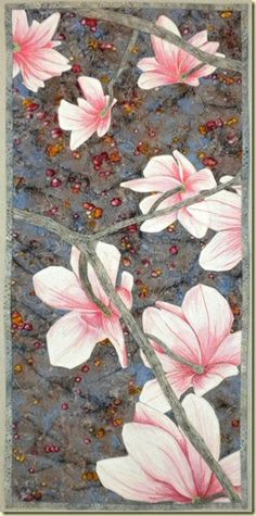 "Fresh Magnolias 17 x 27"" by Kate Themel.  Delicate hand-painted flowers."