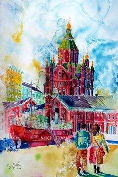 """Uspensk Cathedral in Helsinki"", watercolour on paper, 44x29cm, 2016"