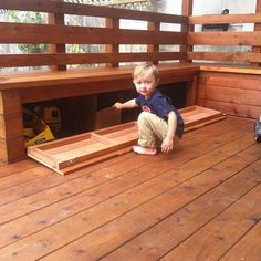 Redwood Deck with built in benches and storage | Yelp