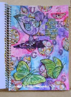 Neon Diary: Art Journal page with splash of colors.