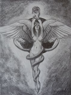 Caduceus - Mark Harchar Illustration    If I could make the snake heads into zebra heads and place them over her chest...