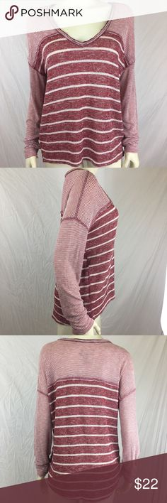 We The Free Slouchy Knit Top We The Free by Free People dark red and white striped slouchy light sweater/ knit top. Soft V neckline. Raw edges and hi-lo hem. Dolman sleeves, with boxy oversized fit. Free People Tops
