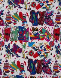 99/6/74 Textile length, 'Kee Collage', silk, Jenny Kee/ Rainbow Fabrics, Australia / Italy, 1980 - Powerhouse Museum Collection