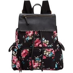 Madden Girl Btrender Backpack (240 EGP) ❤ liked on Polyvore featuring bags, backpacks, accessories, bolsos, purses, flower print backpack, pattern backpack, pink floral backpack, madden girl backpack and black bag