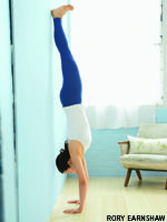 handstand/ Although a successful Handstand demands some basic strength and openness, Cooper says there's much more to the pose than just powerful arms and strong, flexible wrists and shoulders. She offers four interrelated principles you can use to work on your Handstand no matter where you are in the development of your pose.