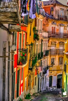 Lisbon - the narrow old streets, Portugal