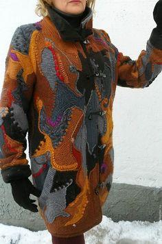 Купить пальто зимнее крючком, в стиле фриформ - пальто, фриформ, пэчворк мультиколор, женское пальто