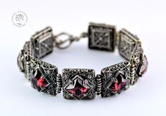 """""""Calypso's Charm"""" - a silver bracelet with Swarovski crystals decorated with oriental patterns. There is a Calypso in you: a woman who charms with her beauty because she is concious of the power of her femininity. There is a Calypso in you: a tempting, sensual woman whose great power is her sex appeal.   http://www.greekgoddessjewelry.com/en/shop/thea-collection/bracelets/product/17-bracelet-calypso-s-charm"""