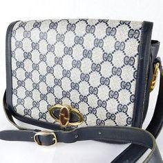 Auth Old Gucci GG Pattern PVC Leather Shoulder Bag | eBay