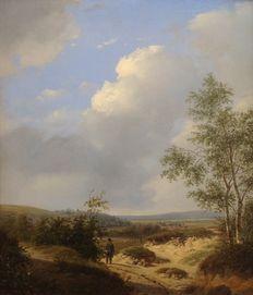 """Andreas Schelfhout (1787-1870) - """"Wandelaar in heuvellandschap bij berkenboom"""""""