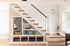 Impressive-Under-Stair-Storage-vogue-Other-Metro-Beach-Style-Staircase-Remodelin. Impressive-Under-Stair-Storage-vogue-Other-Metro-Beach-Style-Staircase-Remodeling-ideas-with-baskets-clever-use-of-space-newel-post-staircase-storage-. House Stairs, Staircase Storage, Space Under Stairs, House Design, Mudroom Decor, Home Stairs Design, Home, Basement Remodeling, Small House Design