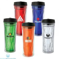 16 oz. Capacity Double Wall Construction Clear Outer Faceted Inner Liner Polypropylene Lid Spill-Proof Flip Up Lid