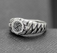 GERMAN RING SWASTIKA SILVER ELITE PLAIT http://antiq24.com/product/german-ss-ring-nazi-swastika-silver-ring-for-sale-copy/