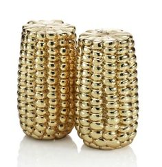 I want to touch them real bad. Shiny. Ooo. gilded corncob salt & pepper shakers, michael aram