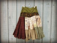 Bohemian Gypsy Upcycled Skirt// Medium// Brown Green by emmevielle, $73.00