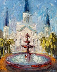 New Orleans Jackson Square Cathedral Fountain by MonaVivarFineArt, $45.00